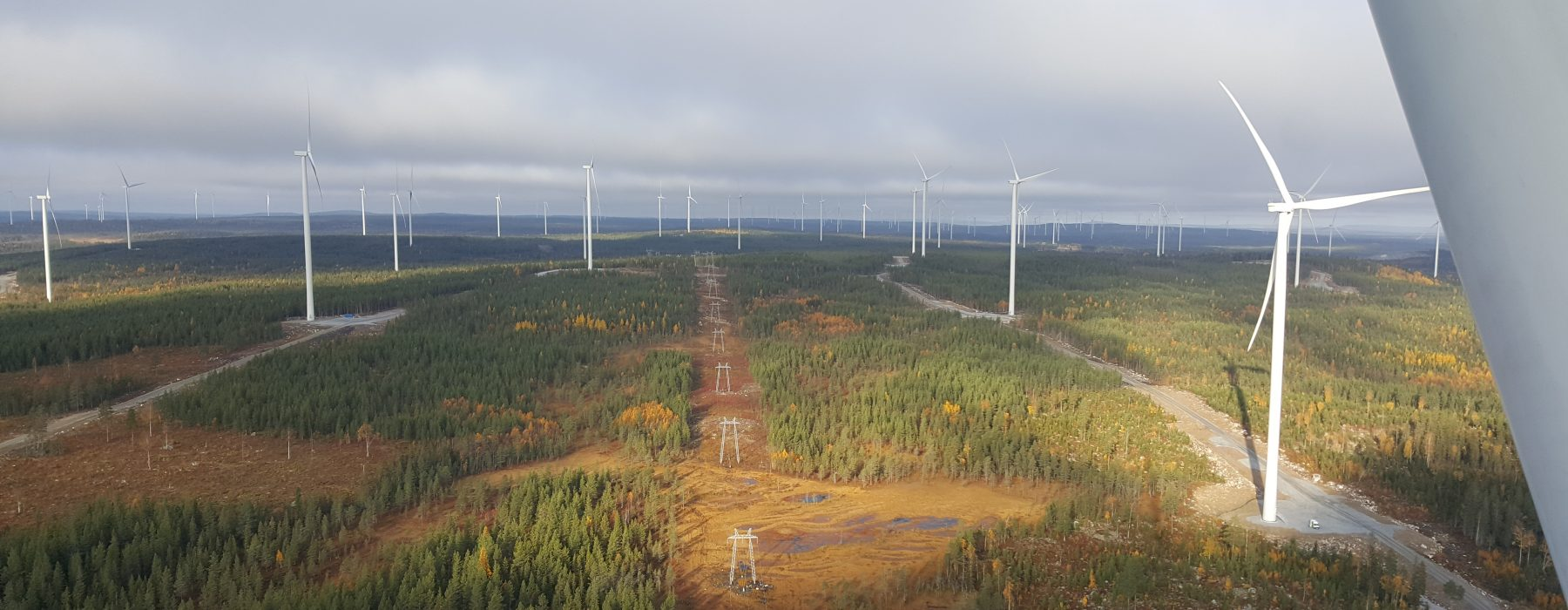 landscape image of an onshore wind farm