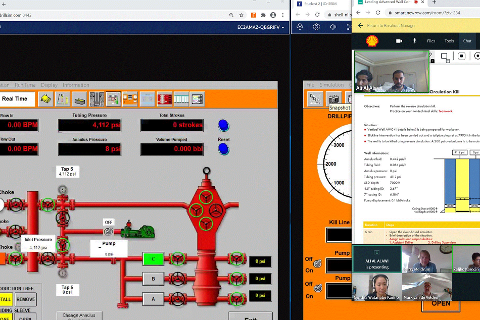 A screenshot of Shell personnel using Drilling Systems' cloud-based drilling and well control simulator, iDrillSIM, to train virtually